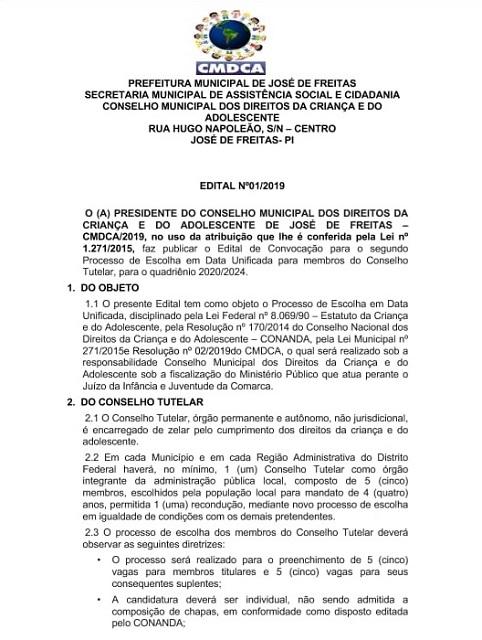 EDITAL DE CONVOCAÇÃO PARA ELEIÇÃO DO CONSELHO TUTELAR DE JOSÉ DE FREITAS