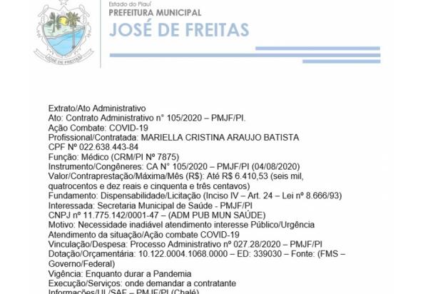 Extrato/Ato Administrativo Ato: Contrato Administrativo n° 105/2020 – PMJF/PI.