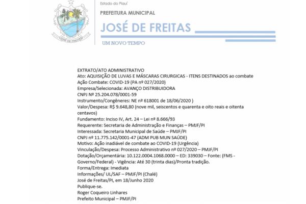 EXTRATO AQUISIÇÃO LUVAS E MÁSCARAS - COVID