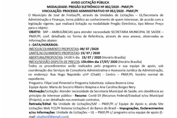 AVISO LICITAÇÃO PÚBLICA:  PREGÃO ELETRÔNICO Nº 002/2020