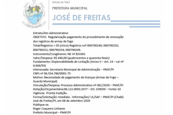 OBJETIVO:  Regularização pagamento do procedimento de renovação dos registros de armas de fogo