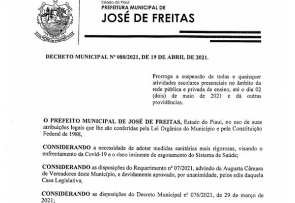 DECRETO MUNICIPAL N° 080/2021, DE 19 DE ABRIL DE 2021.