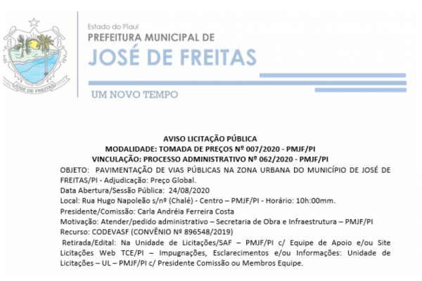 AVISO LICITAÇÃO PÚBLICA | TOMADA DE PREÇOS Nº 007/2020 - PMJF/PI