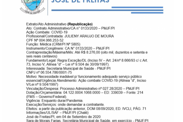 Ato: Contrato Administrativo/CA n° 0133/2020 – PMJF/PI