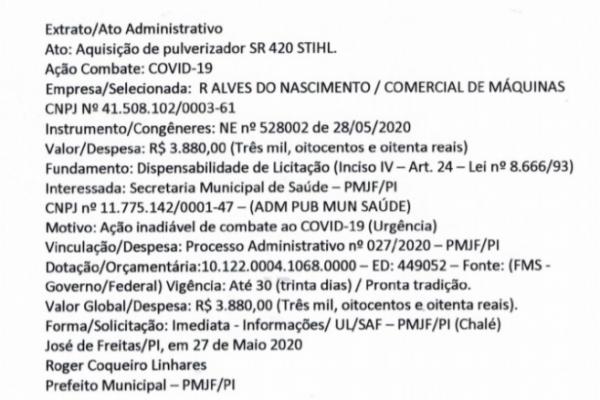 Extrato/Ato Administrativo Ato: Aquisição de Pulverizadores SR 420 STIHL Ação Combate: COVID-19