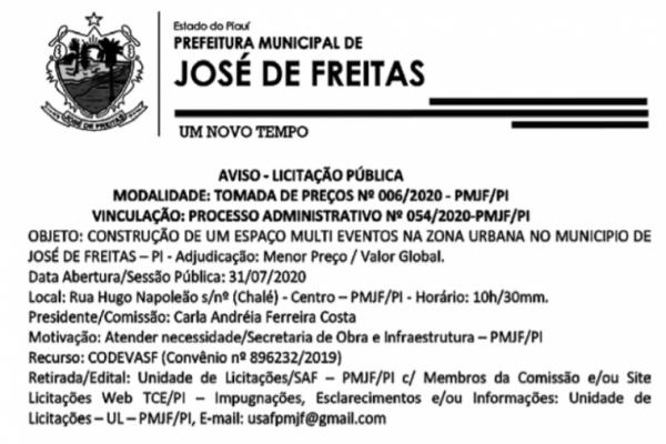 AVISO DE LICITAÇÃO TOMADA DE PREÇOS Nº 006/2020 - Construção de um espaço multieventos na Zona Urbana no município de José de Freitas-PI
