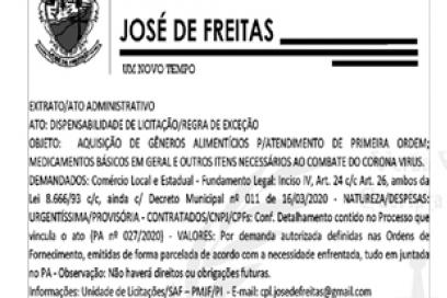 PROCESSO ADMINISTRATIVO N° 027/2020-PMJF/PI | RECOMENDAÇÕES E ENCAMINHAMENTO DE ORDEM PROCESSUAL MOTIVAÇÃO DIANTE DAS RAZÕES DE FATO