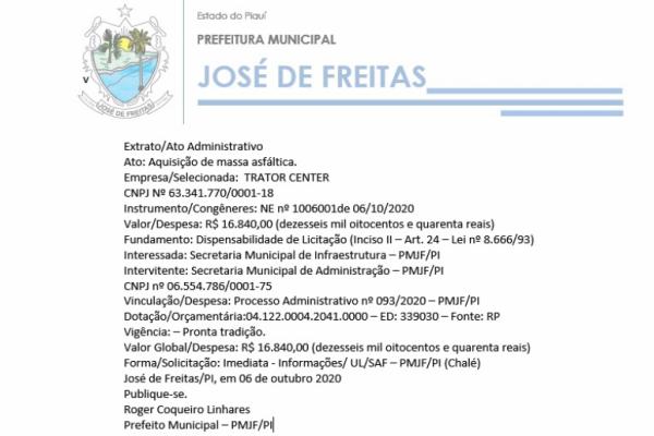 Extrato/Ato Administrativo  Ato: Aquisição de massa asfáltica.