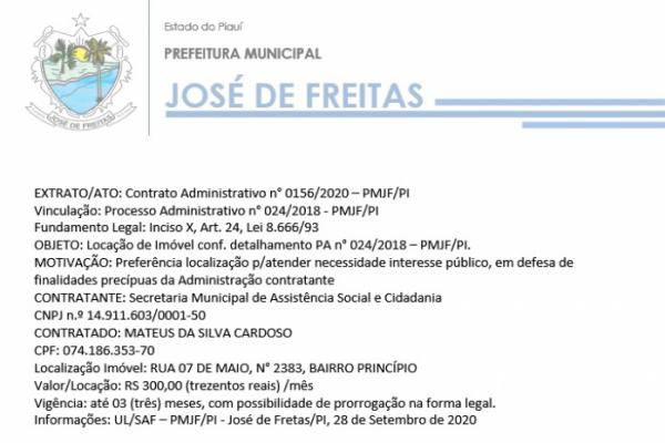 EXTRATO/ATO: Contrato Administrativo n° 0156/2020 – PMJF/PI  Vinculação: Processo Administrativo n° 024/2018 - PMJF/PI