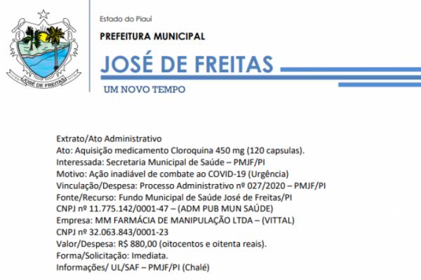 Extrato/ Processo Administrativo nº 027/2020 – PMJF/PI / Cloroquina