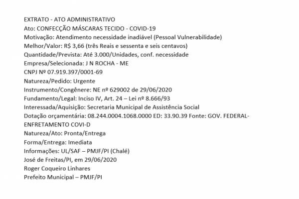 EXTRATO - ATO ADMINISTRATIVO: CONFECÇÃO MÁSCARAS TECIDO - COVID-19  Motivação: Atendimento necessidade inadiável (Pessoal Vulnerabilidade)