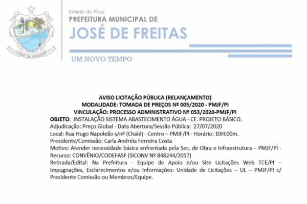 AVISO LICITAÇÃO PÚBLICA (RELANÇAMENTO)  -: TOMADA DE PREÇOS Nº 005/2020 - PMJF/PI - PROCESSO ADMINISTRATIVO Nº 053/2020-PMJF/PI