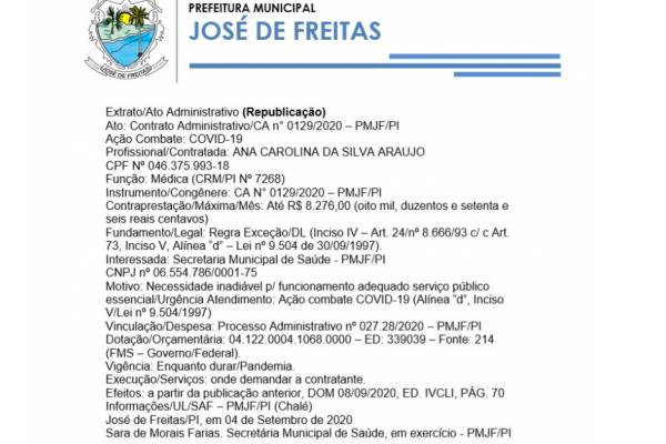 Ato: Contrato Administrativo/CA n° 0129/2020 – PMJF/PI