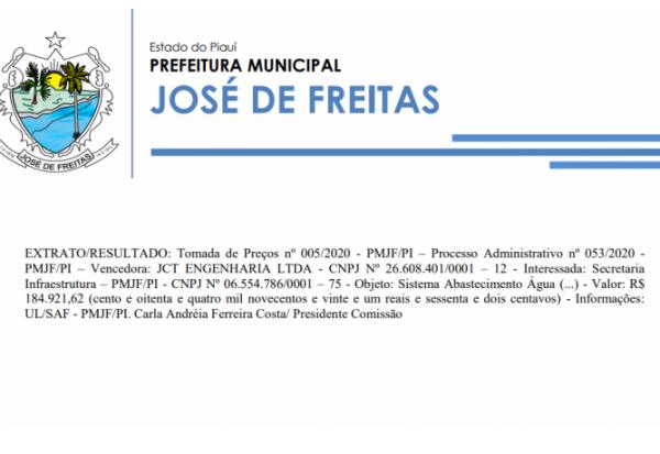 Tomada de Preços nº 005/2020 - PMJF/PI – Processo Administrativo nº 053/2020 - PMJF/PI