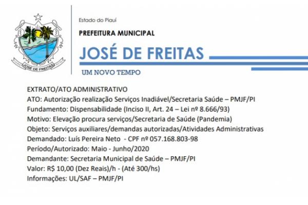 EXTRATO/ATO ADMINISTRATIVO ATO: Autorização realização Serviços Inadiável/Secretaria Saúde – PMJF/PI