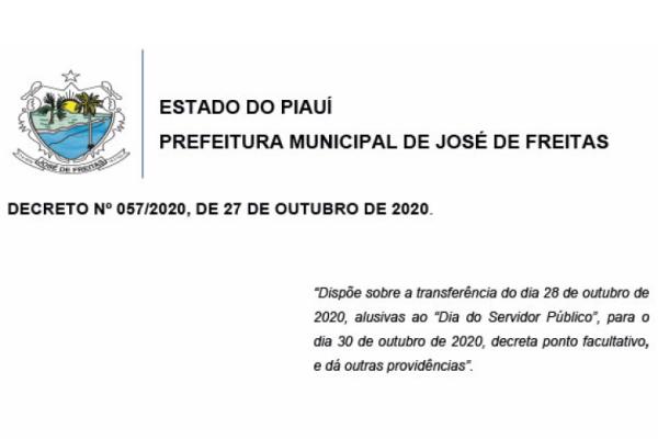 DECRETO Nº 057/2020, DE 27 DE OUTUBRO DE 2020.