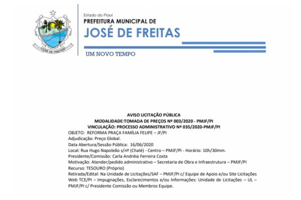 MODALIDADE:TOMADA DE PREÇOS Nº 003/2020 - PMJF/PI
