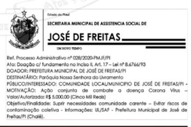 PROCESSO ADMINISTRATIVO Nº 028/2020 – PMJF/PI