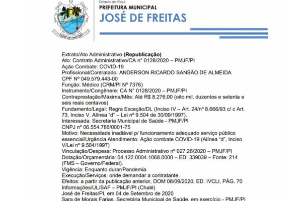 Ato: Contrato Administrativo/CA n° 0128/2020 – PMJF/PI A
