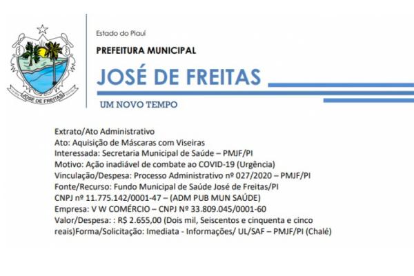 Vinculação/Despesa: Processo Administrativo nº 027/2020 – PMJF/PI | Ato: Aquisição de Máscaras com Viseiras