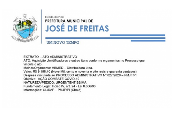 EXTRATO - ATO ADMINISTRATIVO PROCESSO ADMINISTRATIVO Nº 027/2020 – PMJF/PI |  Aquisição Umidificadores