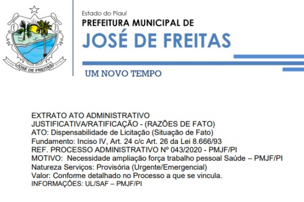 EXTRATO ATO ADMINISTRATIVO | REF. PROCESSO ADMINISTRATIVO Nº 043/2020 - PMJF/PI