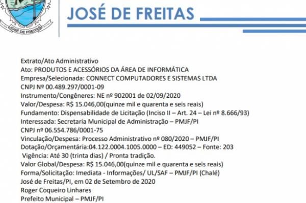 Extrato/Ato Administrativo Ato: PRODUTOS E ACESSÓRIOS DA ÁREA DE INFORMÁTICA