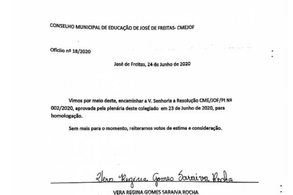 RESOLUÇÃO  AULAS REMOTAS JOSÉ DE FREITAS - PI