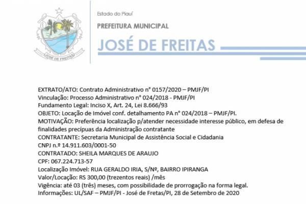 EXTRATO/ATO: Contrato Administrativo n° 0157/2020 – PMJF/PI  Vinculação: Processo Administrativo n° 024/2018 - PMJF/PI