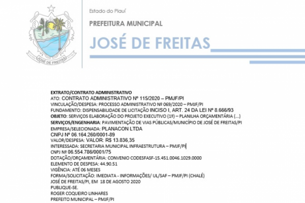 CONTRATO ADMINISTRATIVO Nº 115/2020 – PMJF/PI