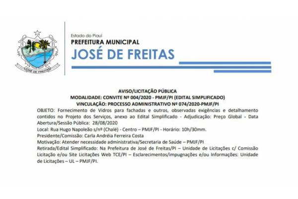 AVISO/LICITAÇÃO PÚBLICA MODALIDADE: CONVITE Nº 004/2020 - PMJF/PI (EDITAL SIMPLIFICADO)