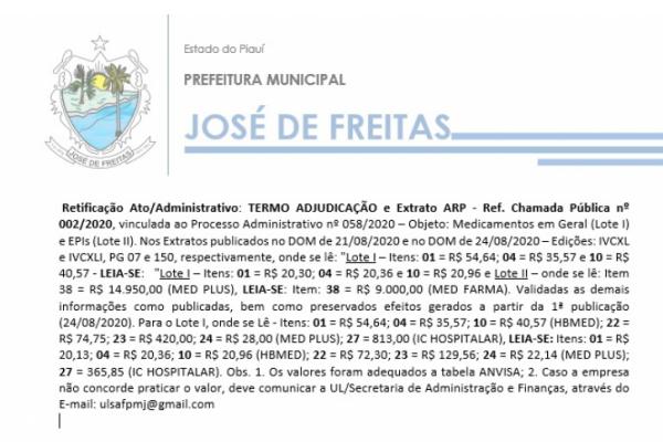 Retificação Ato/Administrativo: TERMO ADJUDICAÇÃO e Extrato ARP - Ref. Chamada Pública nº 002/2020