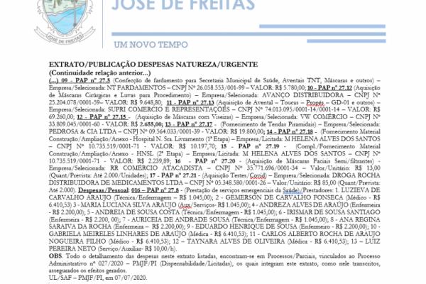 EXTRATO/PUBLICAÇÃO DESPESAS NATUREZA/URGENTE