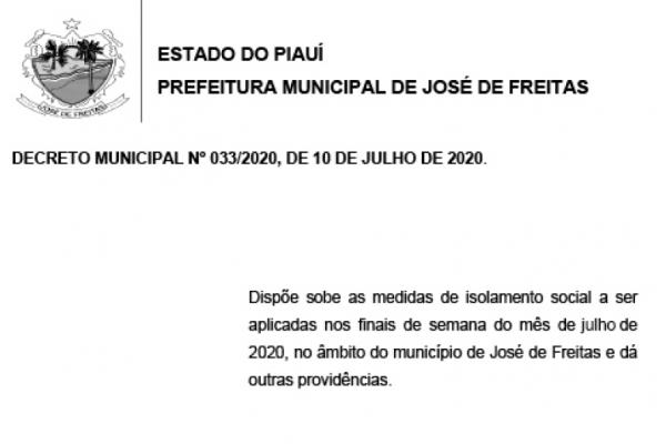 DECRETO MUNICIPAL Nº 033/2020, DE 10 DE JULHO DE 2020.
