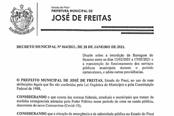 DECRETO MUNICIPAL N. 064/2021, DE 28 DE JANEIRO DE 2021.