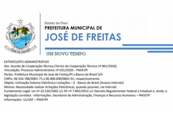 EXTRATO/ATO ADMINISTRATIVO Ato: Acordo de Cooperação Técnica (Termo de Cooperação Técnica nº 001/2020)