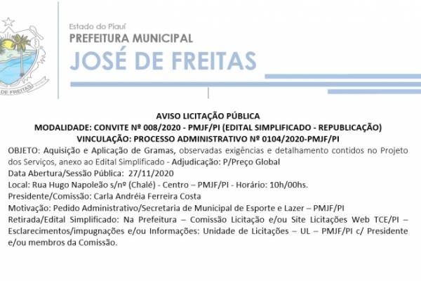 AVISO LICITAÇÃO PÚBLICA  MODALIDADE: CONVITE Nº 008/2020 - PMJF/PI (EDITAL SIMPLIFICADO - REPUBLICAÇÃO)
