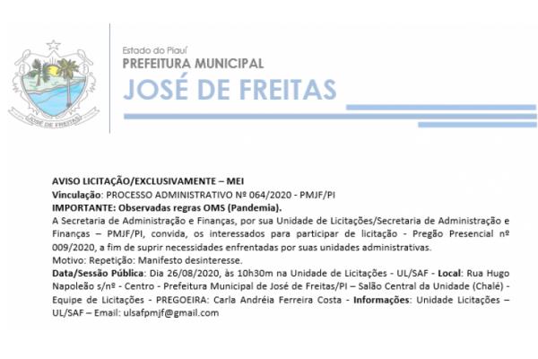 PROCESSO ADMINISTRATIVO Nº 064/2020 - PMJF/PI