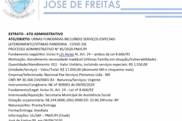 ATO/OBJETO: URNAS FUNERÁRIAS INCLUÍNDO SERVIÇOS ESPECIAIS