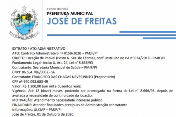 EXTRATO / ATO ADMINISTRATIVO ATO: Contrato Administrativo nº 0159/2020 – PMJF/PI OBJETO
