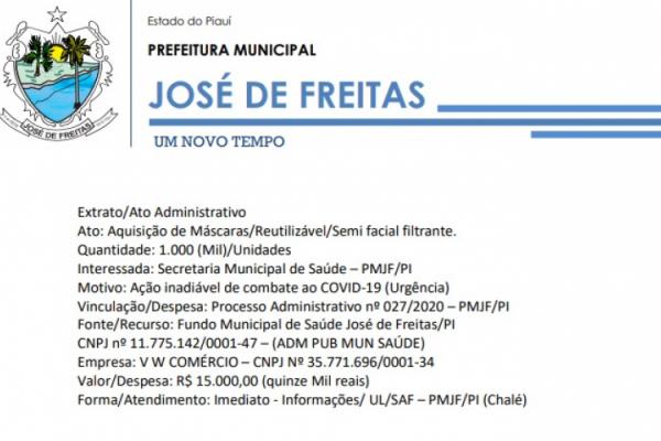 Vinculação/Despesa: Processo Administrativo nº 027/2020 – PMJF/PI | Ato: Aquisição de Máscaras/Reutilizável/Semi facial filtrante