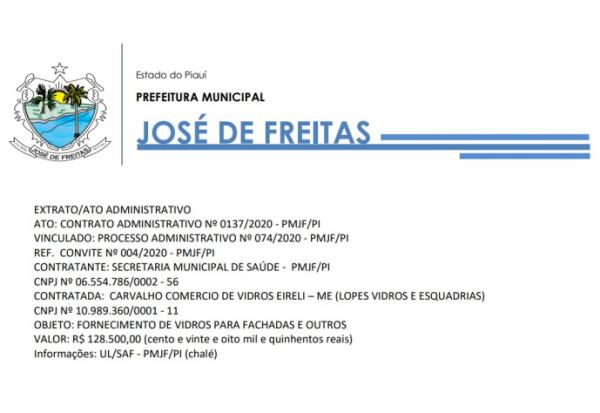 CONTRATO ADMINISTRATIVO Nº 0137/2020 - PMJF/PI VINCULADO: PROCESSO ADMINISTRATIVO Nº 074/2020 - PMJF/PI REF. CONVITE Nº 004/2020
