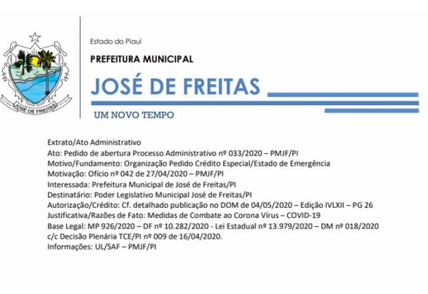 Extrato/Ato Administrativo| Pedido de abertura Processo Administrativo nº 033/2020