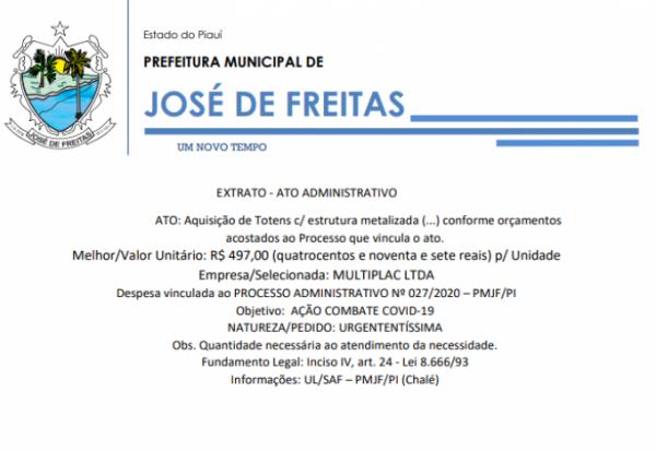 EXTRATO - ATO ADMINISTRATIVO ATO: Aquisição de Totens c/ estrutura metalizada