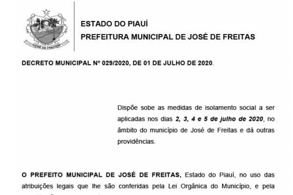 DECRETO MUNICIPAL Nº 029/2020, DE 01 DE JULHO DE 2020