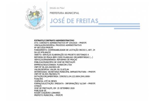 ATO: CONTRATO ADMINISTRATIVO Nº 154/2020 – PMJF/PI