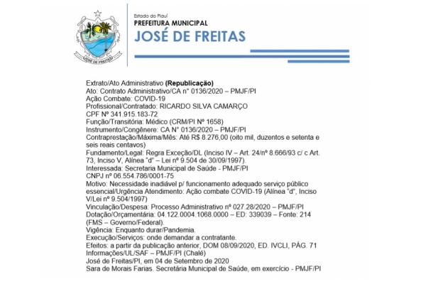 Ato: Contrato Administrativo/CA n° 0136/2020 – PMJF/PI
