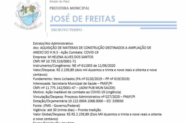 AQUISIÇÃO DE MATERAIS DE CONSTRUÇÃO DESTINADOS A AMPLIAÇÃO DE ANEXO DO H.N.S - Ação Combate: COVID-19